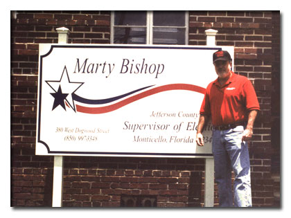Marty in front of the elections office.